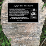 Aluminum Remembrance Plaque with Etched Photo insert Bind mount on natural rock